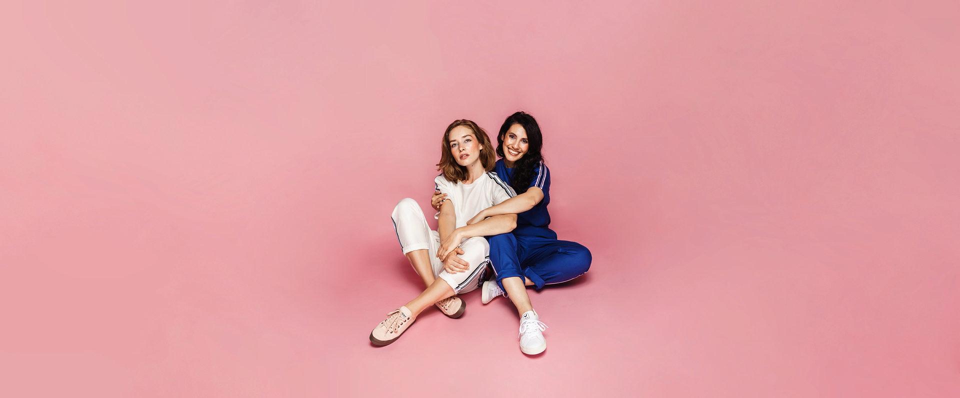 two models posing